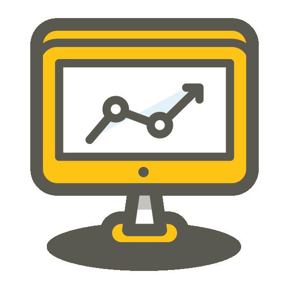 growth arrow icon on computer